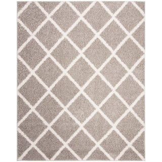 Safavieh New York Shag Geometric Grey/ Ivory Area Rug (9' x 12')