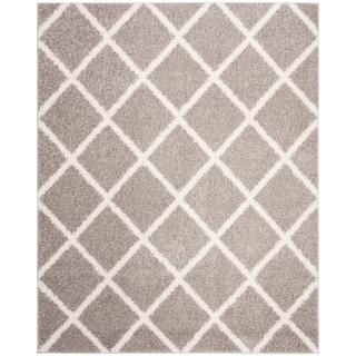 Safavieh New York Shag Geometric Grey/ Ivory Area Rug (8' x 10')