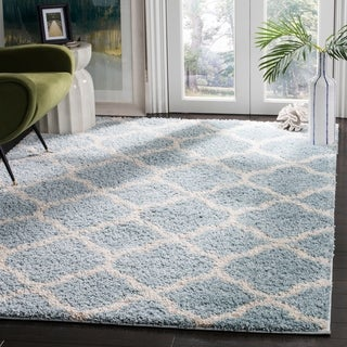 Safavieh New York Shag Geometric Blue/ Ivory Area Rug (9' x 12')