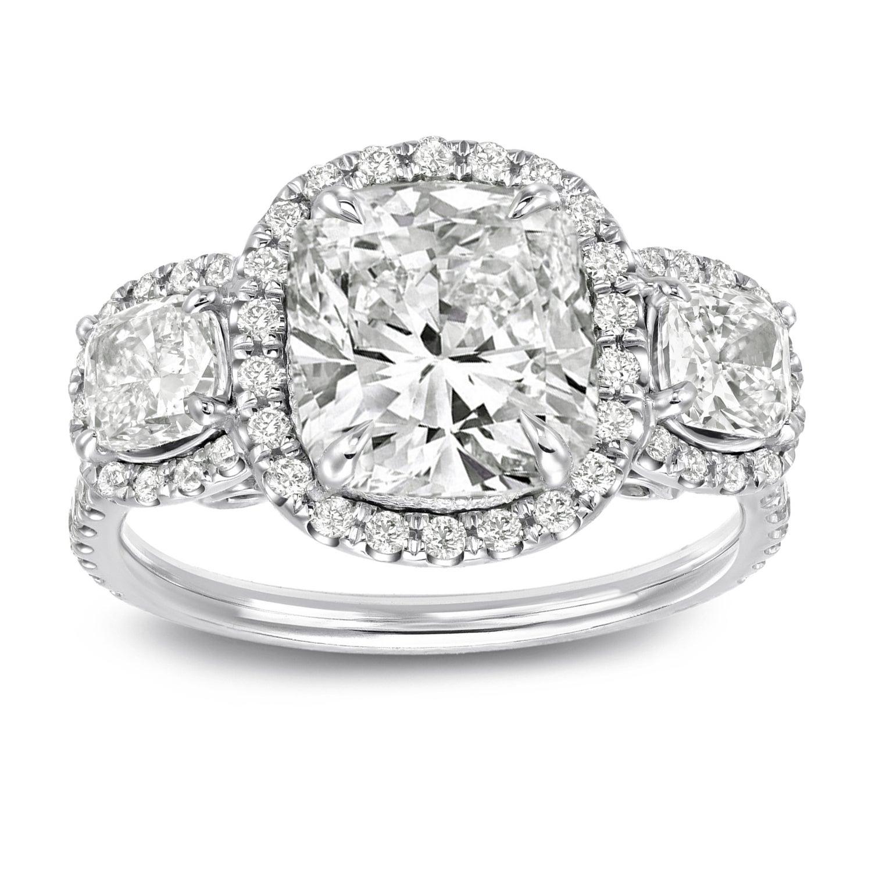 Auriya 14k Gold 4 2 5 Carat Tw Unique Cushion Cut Halo Diamond Engagement Ring Certified
