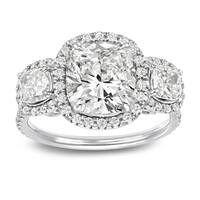 Three Stone 4 2/5ct TDW Certified Cushion-Cut Diamond Halo Engagement Ring in 14k Gold by Auriya