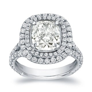 Auriya 18k White Gold Certified 4 1/5ct TDW Cushion-cut Diamond Halo Engagement Ring