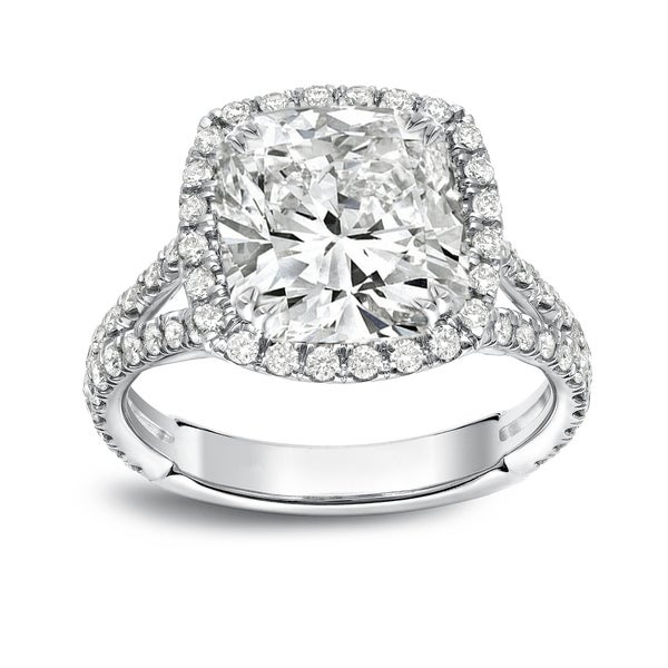 Auriya Platinum 4 1/3ctw Cushion-cut Halo Diamond Engagement Ring Certified. Opens flyout.