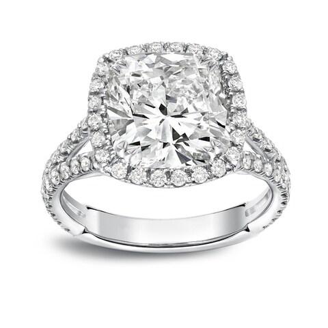 Auriya Platinum 4 1/3ct TDW Cushion-Cut Diamond Halo Engagement Ring