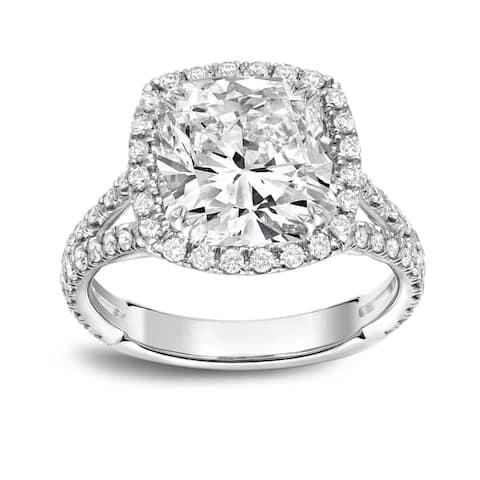 Auriya 4 1/3ctw Cushion-cut Halo Diamond Engagement Ring Platinum Certified
