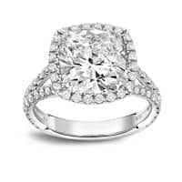 Auriya Platinum 4 1/3ct TDW Cushion-Cut Diamond Halo Engagement Ring