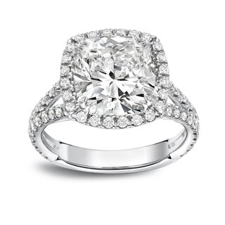 Auriya Platinum 4 1/3ct TDW Cushion-Cut Diamond Halo Engagement Ring (More options available)