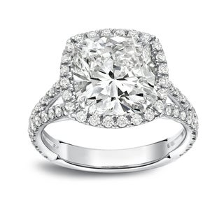 Platinum 4 1/3ct TDW Cushion Cut Diamond Halo Engagement Ring by Auriya