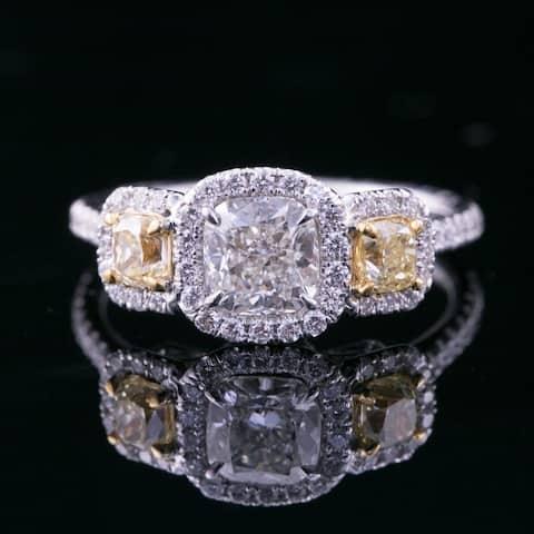 Auriya 18k Gold 5 carat TW Unique Cushion-cut Halo Yellow Diamond Engagement Ring Certified