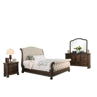 Furniture of America Brev Traditional Brown Fabric 4-piece Bedroom Set