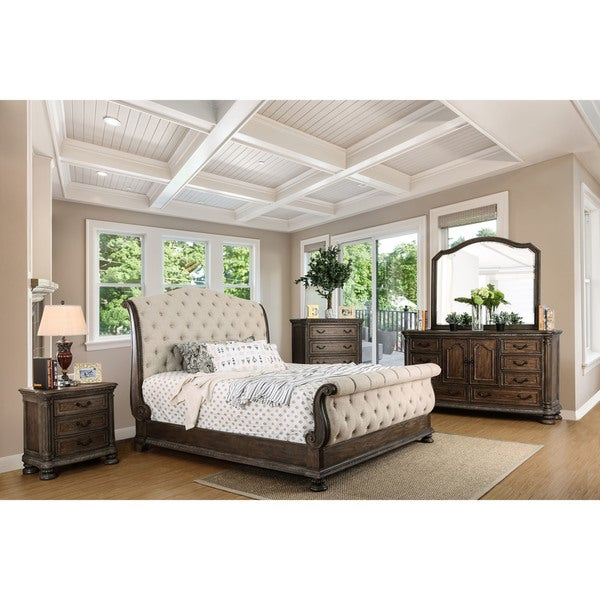 Furniture Of America Brigette III Traditional 4 Piece Ornate Rustic Sleigh  Bedroom Set