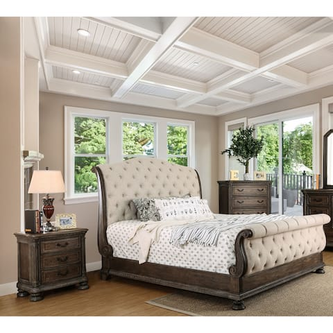 Furniture of America Brev Rustic Brown Fabric 3-piece Bedroom Set