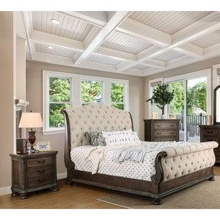 Furniture Of America Brigette III Traditional 3 Piece Ornate Rustic Sleigh Bedroom  Set