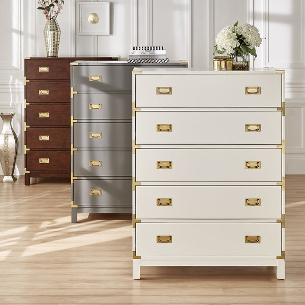 Kedric 5-Drawer Gold Accent Chest by iNSPIRE Q Bold