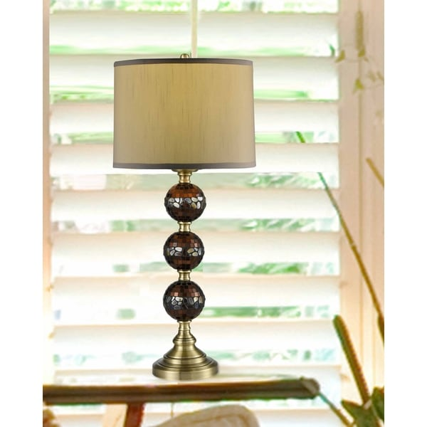 "Springdale 32""H Dunford Mosaic 3-Ball Hand Blown Art Glass Table Lamp"