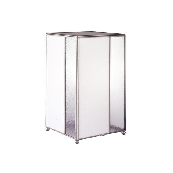 "Springdale 14""H White Glue Chip Glass Table Lamp"