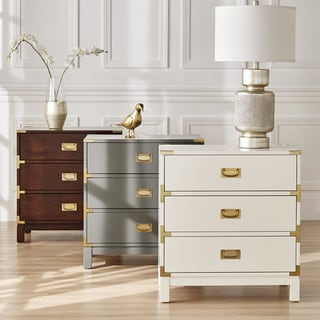 Kedric 3-Drawer Gold Accent End Table Nightstand by iNSPIRE Q Bold