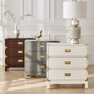 Inspire Q Bold Kedric 3 Drawer Goldtone Accent Nightstand