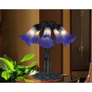 "Springdale  17""H Duchess Lily 5-Light Hand Blown Art Glass Table Lamp"