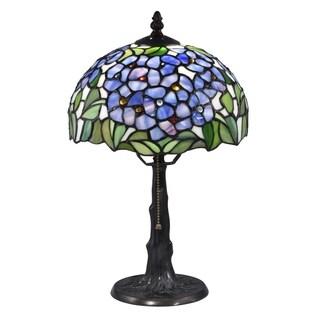 "Dale Tiffany Select 16""H Blue Garden Solid Bronze Table Lamp - Multi-color"