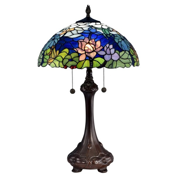"Dale Tiffany Select 25""H Tara Peony Table Lamp - Multi-color"