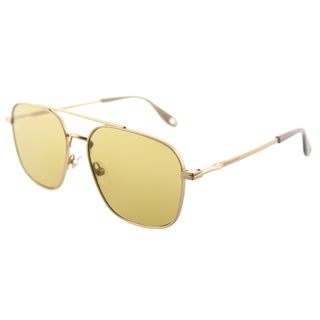 Givenchy GV 7033 AOZ_BZ Semi Matte Gold Metal Aviator Sunglasses Flat Gold Mirror Lens