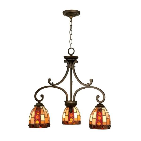 "Springdale 20.25""W Baroque 3-Light Tiffany Hanging Fixture"