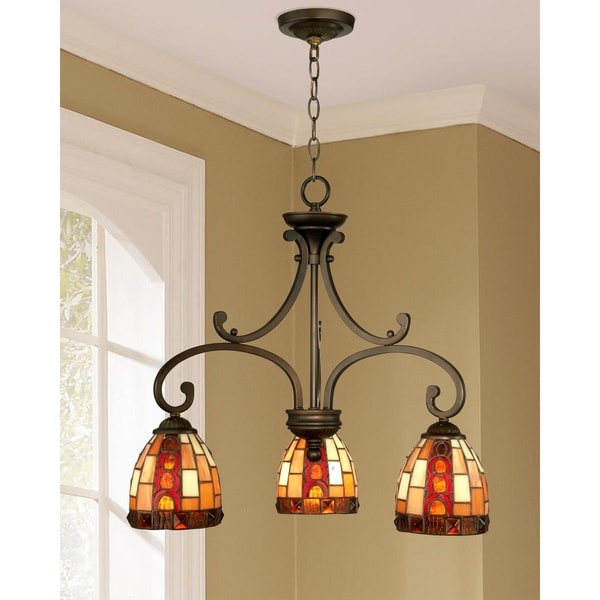 "Springdale 20.25""W Baroque 3-Light Art Glass Hanging Fixture"