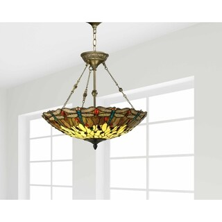 "Springdale 20""W Corrall Dragonfly Art Glass Hanging Fixture"