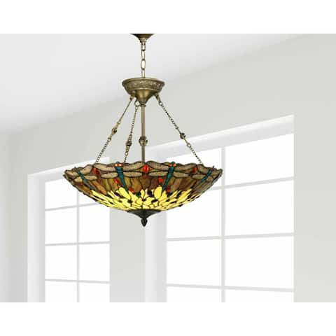 """Springdale 20""""W Corrall Dragonfly Art Glass Hanging Fixture"""