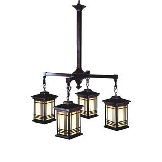 "Springdale 24""W Avery Lantern 4-Light Tiffany Hanging Fixture"