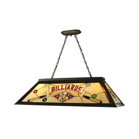 "Springdale 43.75""W Billiards Pool Table Art Glass Island Hanging Fixture"