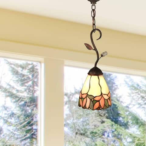 "Springdale 6""W Crystal Leaf Art Glass Mini Pendant"