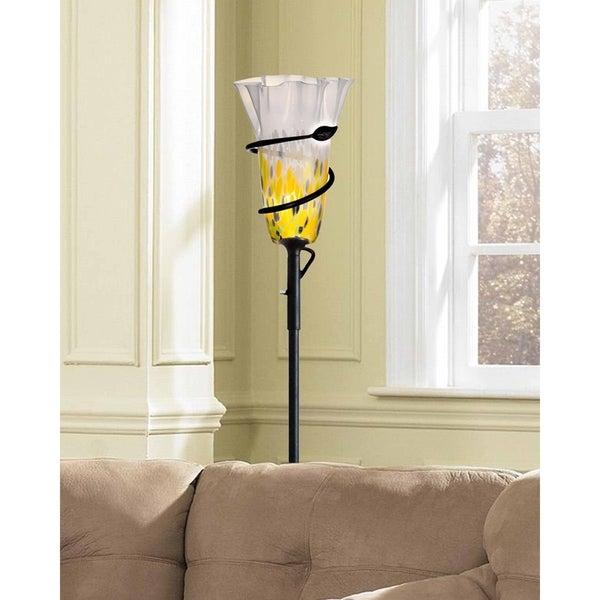 "Springdale 71""H Spiral Leaf LED Hand Blown Art Glass Torchiere Lamp"