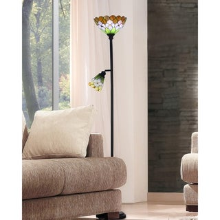 """Dale Tiffany Select 72.25""""H Toby Peony Floor Lamp with Side Light"""