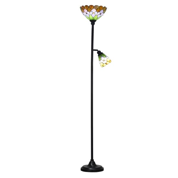 "Dale Tiffany Select 72.25""H Toby Peony Floor Lamp with Side Light"