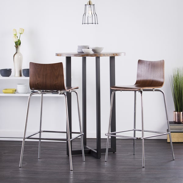 Holly & Martin Danby Bistro Table with 2-piece Walnut Blence Barstools