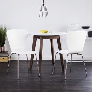 Holly & Martin Oden Burnt Oak Table w/ 2pc White Cadby Bentwood Chairs