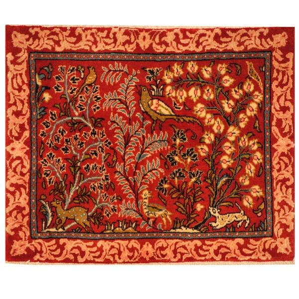 Herat Oriental Persian Hand-knotted Kashan Wool Rug (2'4 x 2'10)