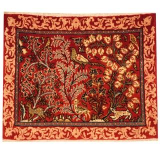 Herat Oriental Persian Hand-knotted Kashan Wool Rug (2'2 x 2'9)
