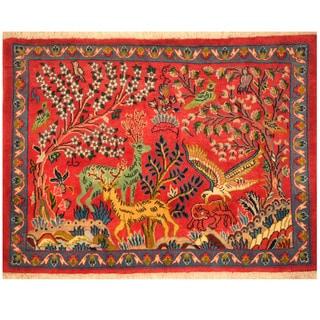 Herat Oriental Persian Hand-knotted Kashan Wool Rug (2'4 x 3'3)