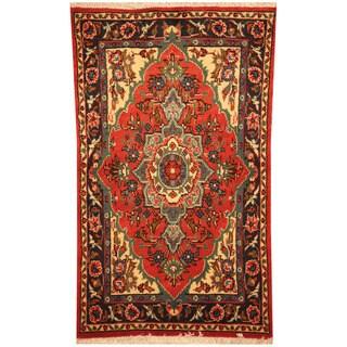 Handmade Herat Oriental Persian Sarouk Wool Rug (Iran) - 2' x 3'5