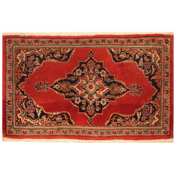 Handmade One-of-a-Kind Kashan Wool Rug (Iran) - 1'10 x 3'1. Opens flyout.