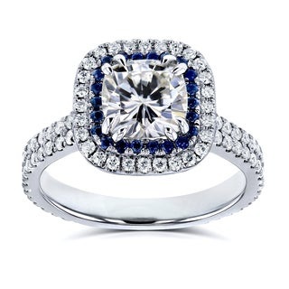 Annello by Kobelli 14k White Gold 2ct TGW Moissanite (HI) with Diamond and Sapphire Cushion Halo Engagement Ring (Option: 10.5)