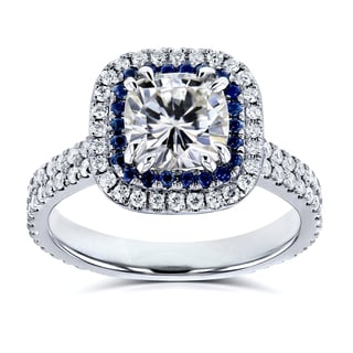 Annello by Kobelli 14k White Gold 2ct TGW Moissanite (HI) with Diamond and Sapphire Cushion Halo Engagement Ring
