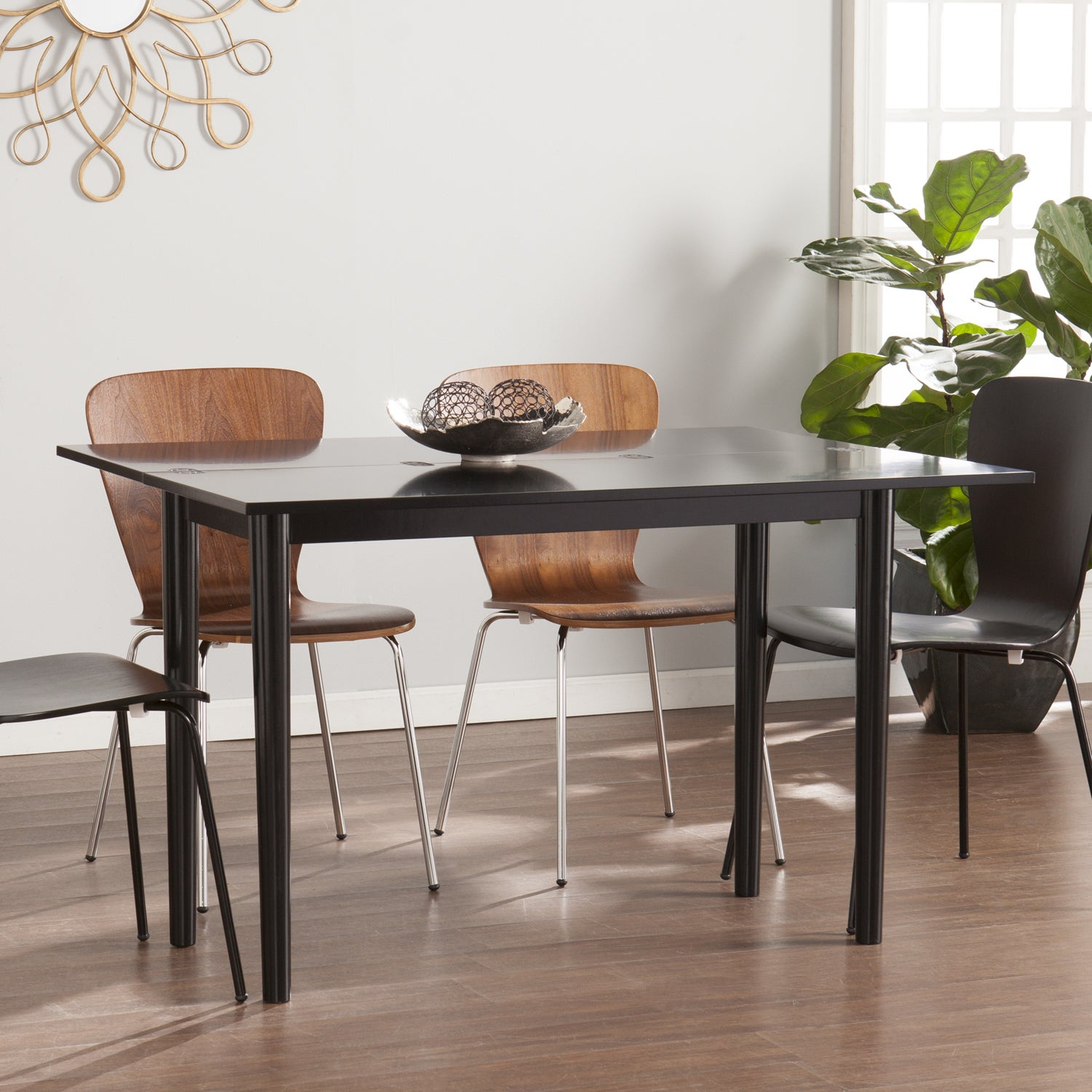 Harper Blvd Convertible Console to Dining Table w 2pc Bla...