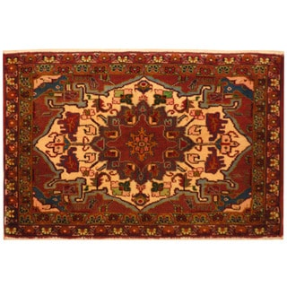 Herat Oriental Persian Hand-knotted Heriz Wool Rug (1'10 x 2'10)