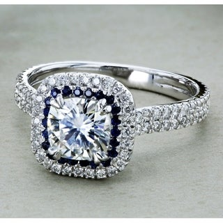 Annello 14k White Gold 2ct DEW Cushion cut Moissanite with Diamond and Sapphire Halo Engagement Ring