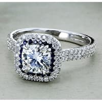Annello by Kobelli 14k White Gold 2ct TGW Moissanite (FG) with Diamond and Sapphire Cushion Halo Engagement Ring