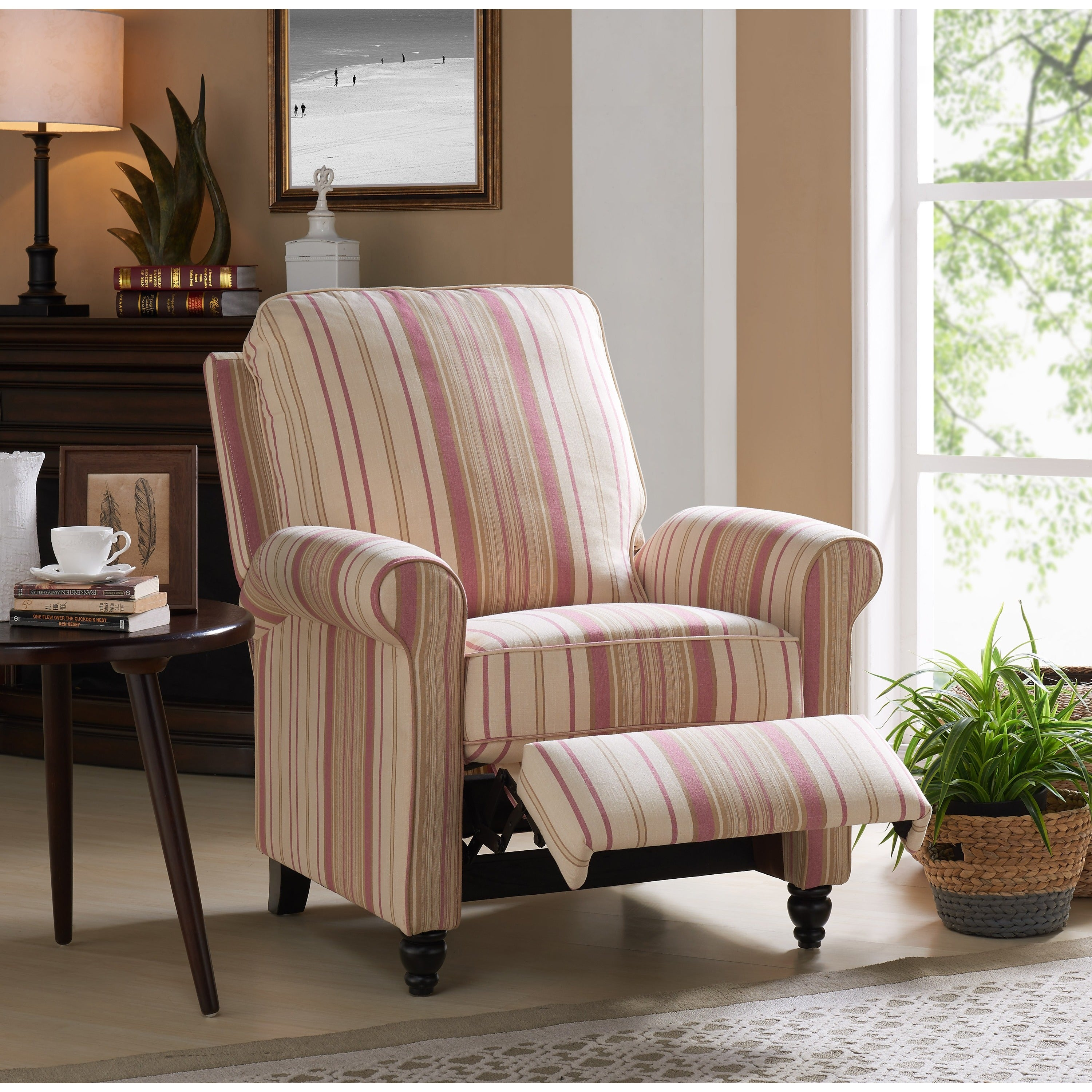 Seating Mini Gravita Armchair In Oriental Garden Fabric: Shop ProLounger Pink Stripe Push Back Recliner Chair